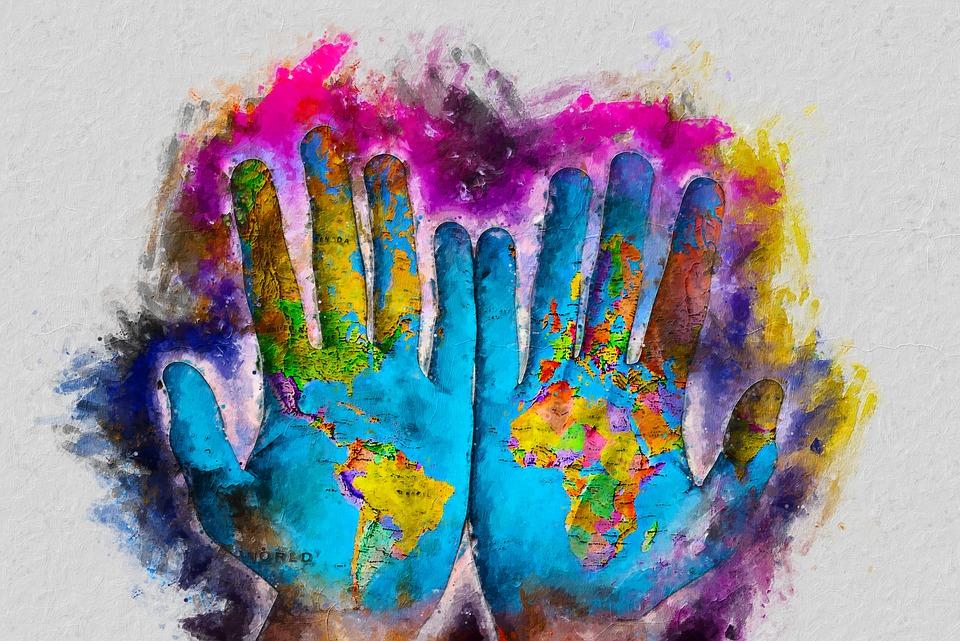 Hand Digital Painting, World Digital Painting, Map