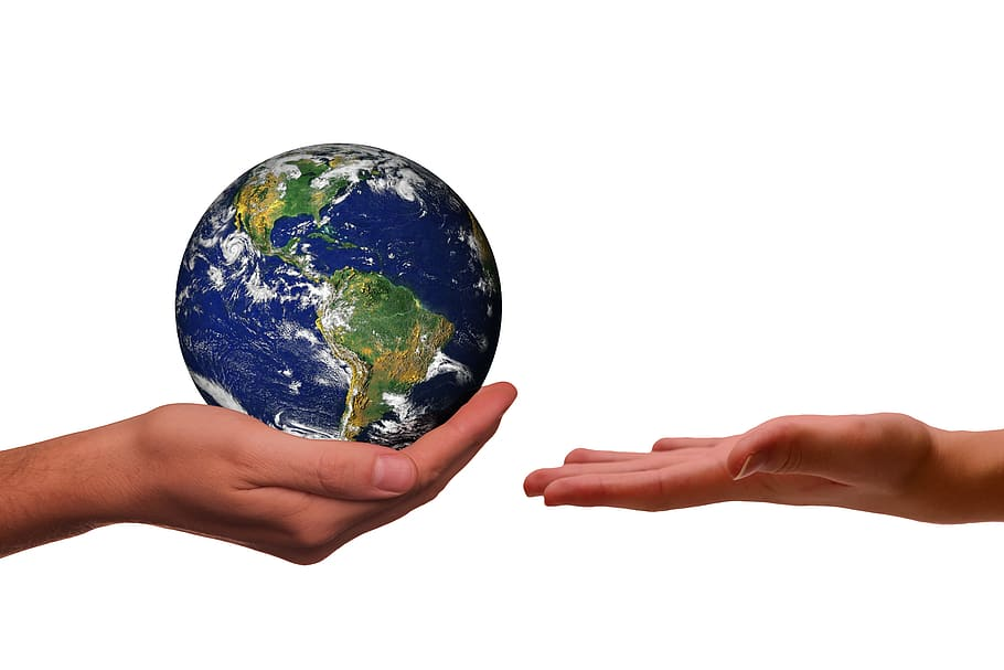 hands, earth, next generation, climate protection, space, universe, responsibility, ethics, nature conservation, environmental protection